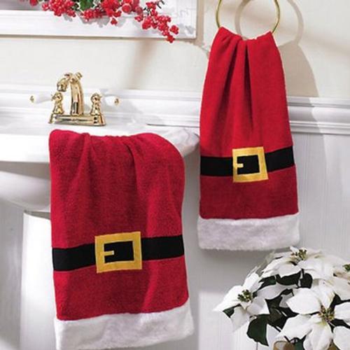 adornos para decorar el cuarto de bano en navidad toalla papa noel Accesorios para Decorar el Cuarto de Baño en Navidad