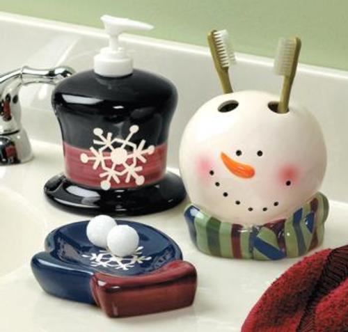 adornos para decorar el cuarto de bano jabonera contenedor cepillo de dientes Accesorios para Decorar el Cuarto de Baño en Navidad