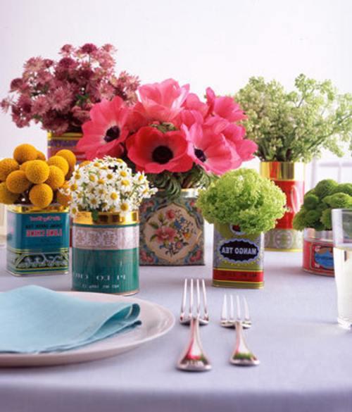 arreglo floral latas Ideas para hacer Centros de Mesa originales