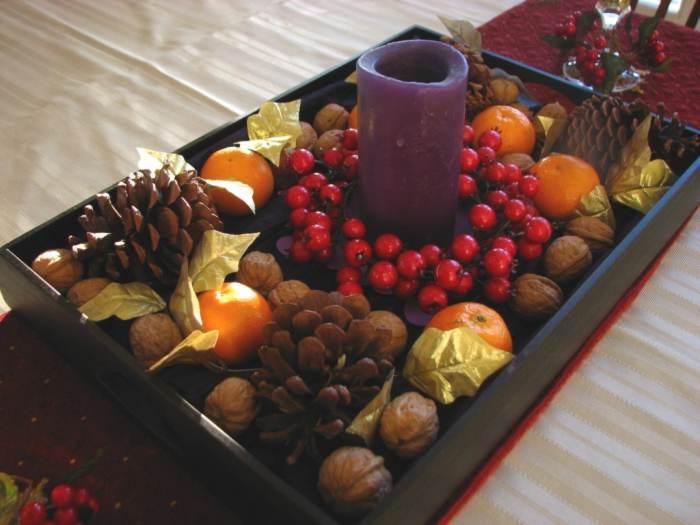 centro de mesa navidad frutas frescas frutos secos Más Ideas de Centros de Mesa y Arreglos Florales para Navidad
