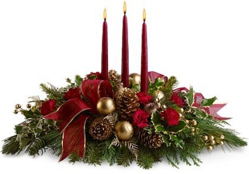centro de mesa navidad vela piñas flores lazos ramas pino Ideas de Centros de Mesa para Navidad