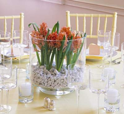 cristal piedras Centros de Mesa y Arreglos Florales en Jarrones de Cristal