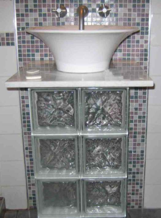 cuarto de bano mesada paves Aplicaciones del Cristal de Pavés  Segunda Parte