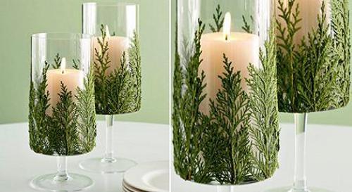 velas decoradas con ramas para navidad Velas Decoradas con Ramas para Navidad